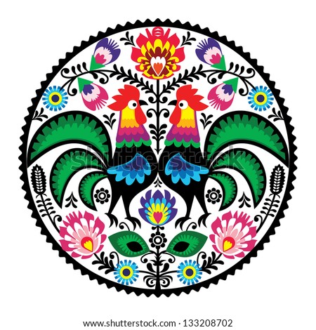 Polish floral embroidery with roosters - traditional folk pattern - stock vector