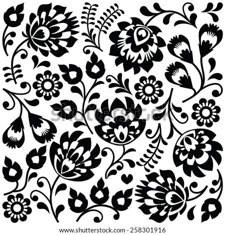 Polish folk art black pattern - Wzory Lowickie, Wycinanki  - stock vector