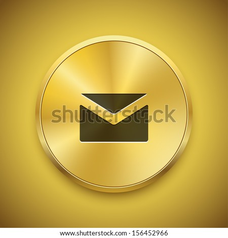 Polished gold metal mail envelop button. Send message vector icon for address or contact information. - stock vector