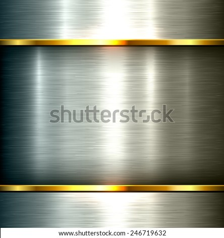 Polished metal background, vector steel plate texture. - stock vector