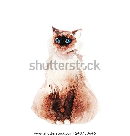 Polite domestic blue-eyed cat - stock vector