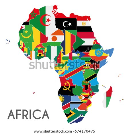 Political Africa Map Vector Illustration With The Flags Of All African  Countries. Editable And Clearly