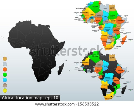 Political and location map of African continent. Versatile file, easy editable color and visibility of every state in one click in layers panel. Vector, eps 10. - stock vector