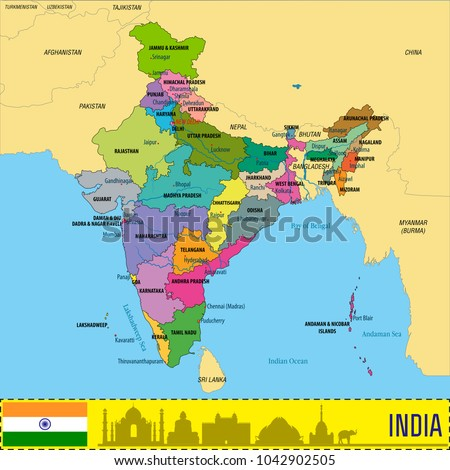 Political Detailed Map India All States Stock Vector Royalty Free - A map with all the states