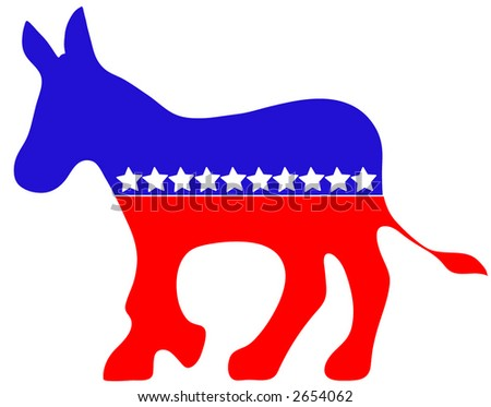 Political Donkey vector, red, white and blue with stars. - stock vector