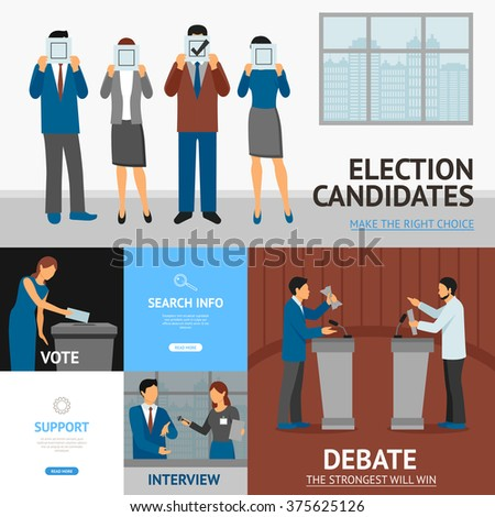 Political election candidates promises debates and interview information online 4 flat banners composition abstract flat vector illustration  - stock vector