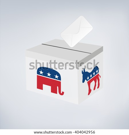 Political Elephant Republican Vs Donkey Democrat. Vote ballot with box.