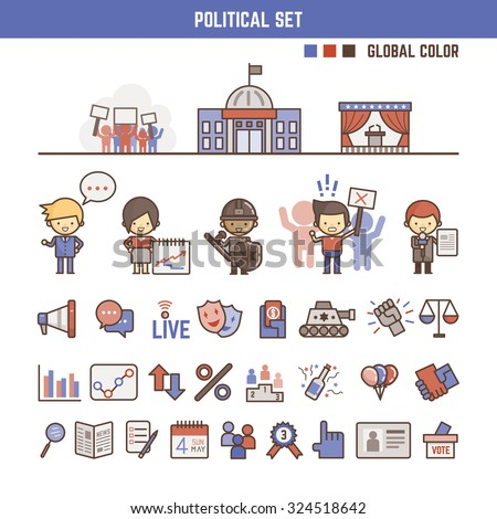 political infographic elements for kids including characters and icons - stock vector
