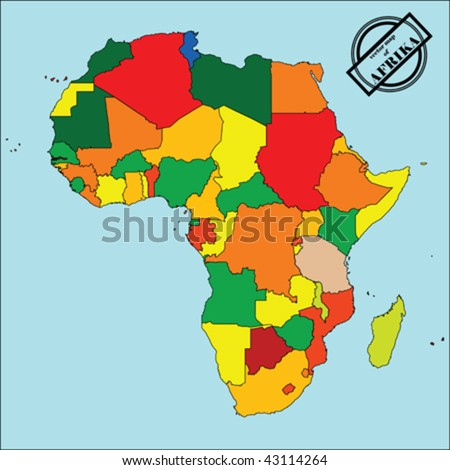 Political map of Africa in colors, easy to edit, copy, paste, move countries. vector - stock vector
