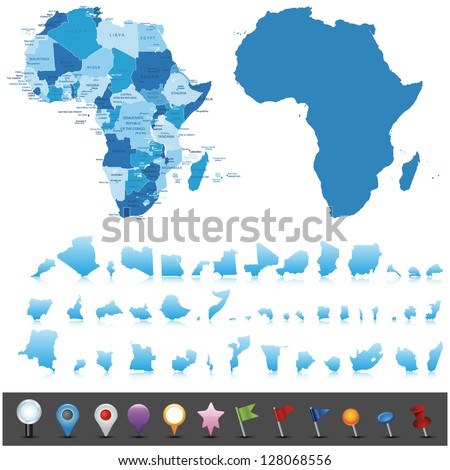 Political map of Africa .Vector - stock vector