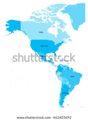 Map central america region red highlighted vectores en stock political map of americas in four shades of blue on white background north and south gumiabroncs Gallery