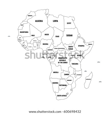 Africa Countries Political Map National Borders Stock Vector - Africa political map without names