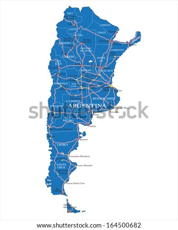 Political map of Argentina - stock vector