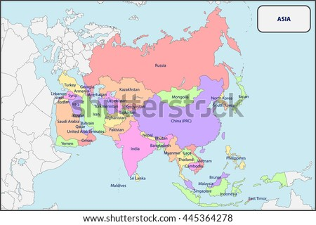 political map asia names stock vector 2018 445364278 shutterstock