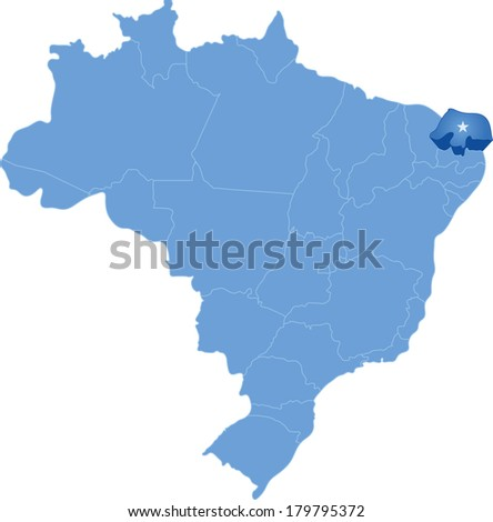 Political Map Of Brazil With All States Where Rio Grande Do Norte Is Pulled Out