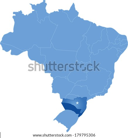 Political map of Brazil with all states where Santa Catarina is pulled out