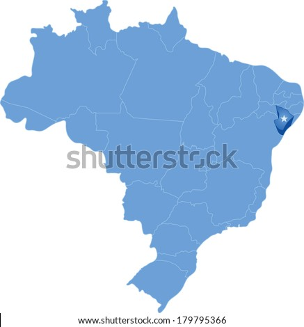 Political map of Brazil with all states where Sergipe is pulled out