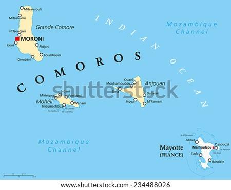 Comoros Islands Stock Images RoyaltyFree Images Vectors - Comoros map
