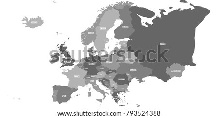 political map of europe continent in four shades of grey with whole european part of