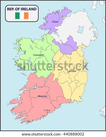 Political Map Ireland Stock Vector Shutterstock - Ireland political map