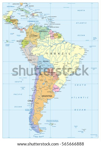 Political Map South America Lakes Rivers Stock Vector 565666888