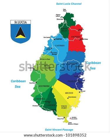 Political Map Caribbean Island Saint Lucia Stock Vector 101898352