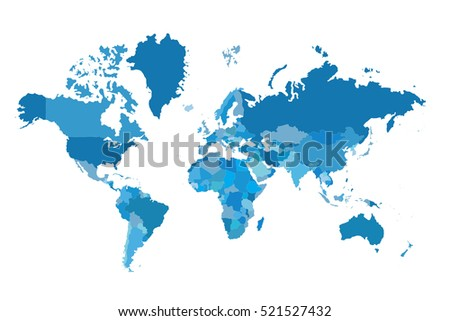 Political map of the world. Colorful map of the world. Blue world map. Vector illustration