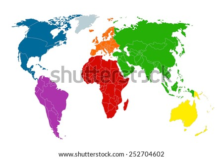 Political Map World Colorful World Mapcountries Stock Vector - Colorful world map