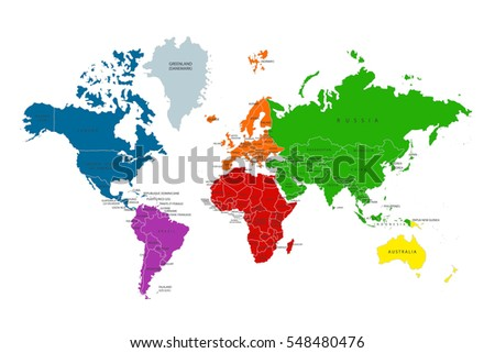Colored Map Of The World With Country Stock Images RoyaltyFree - World map 1800s political