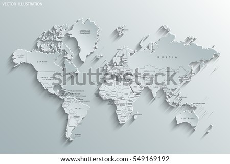 Political map of the world. Gray world map-countries. Paper. Vector illustration