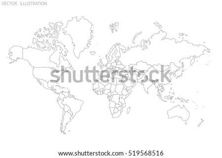 Political map of the world. World map outline. Gray world map-countries. Vector illustration