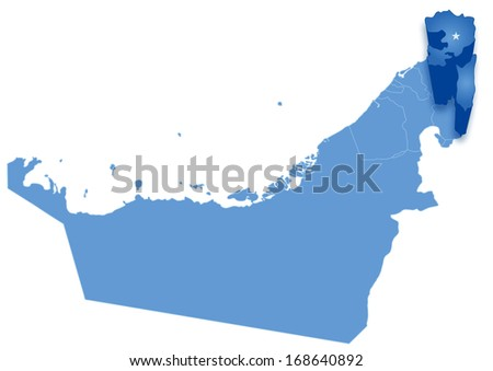 Political map of United Arab Emirates with all Emirates where Fujairah is pulled out