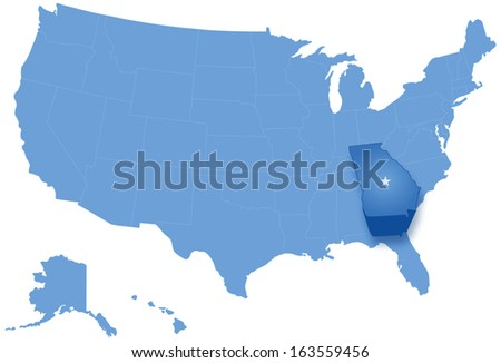 Political map of United States with all states where Georgia is pulled out