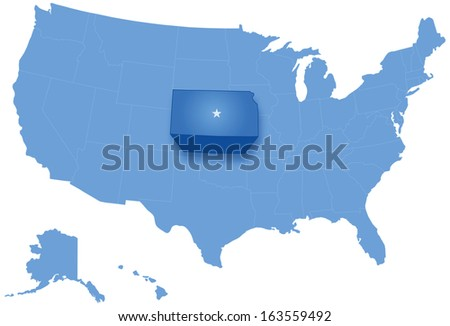 Political map of United States with all states where Kansas is pulled out