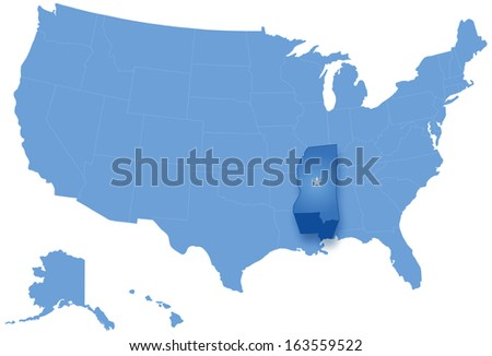 Political map of United States with all states where Mississippi is pulled out
