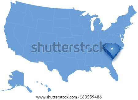 Political map of United States with all states where South Carolina is pulled out