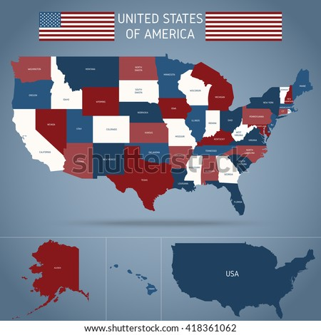 political map of usa poster with american flag regions of country on blue background vector ilration