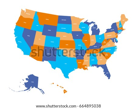 Political Map Usa United States America Stock Vector 664895038