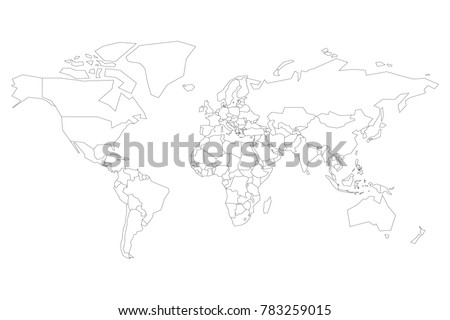 Political map world blank map school stock vector 783259015 political map of world blank map for school quiz simplified black thin outline on gumiabroncs Image collections