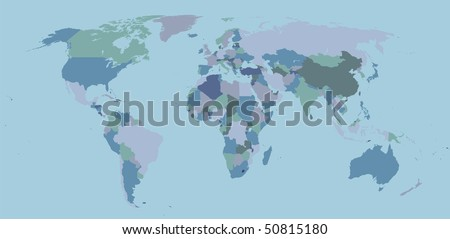 political map of world with country territories in different colors - stock vector