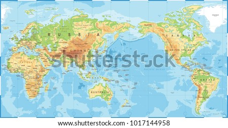 Political physical topographic colored world map vector de political physical topographic colored world map vector de stock1017144958 shutterstock gumiabroncs Choice Image