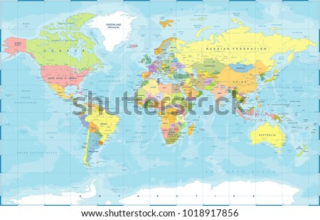 Blank political world map detailed vector stock vector 488565046 political physical topographic colored world map vector illustration gumiabroncs Image collections