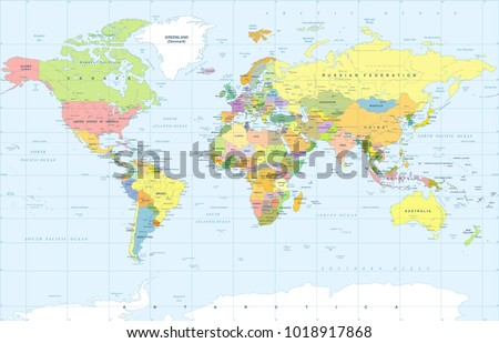 Political physical topographic colored world map stock vector political physical topographic colored world map vector illustration gumiabroncs Gallery