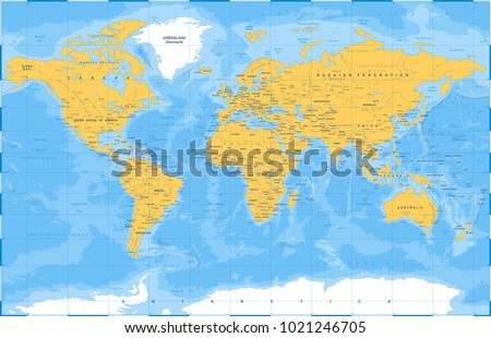 Political physical topographic colored world map vector de political physical topographic colored world map vector illustration gumiabroncs Gallery