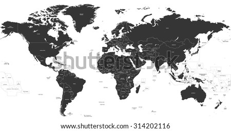 political world map - stock vector