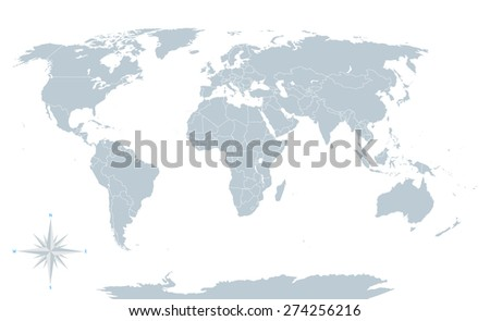 Political world map, grey, with white borders. Every state and continent labeled and selectable. Versatile file, turn on an off visibility and color of each country in one click.