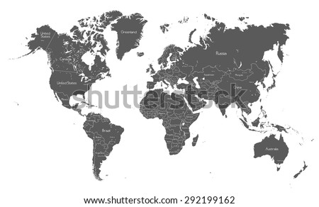 Political world map with country names - stock vector
