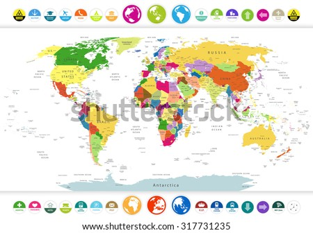 Political world map flat icons globeshighly stock photo photo political world map with flat icons and globeshighly detailed political world map with flat gumiabroncs Choice Image