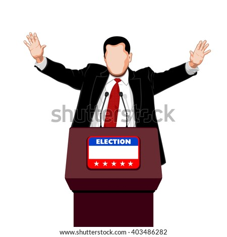Politician greets his election campaign supporters - stock vector