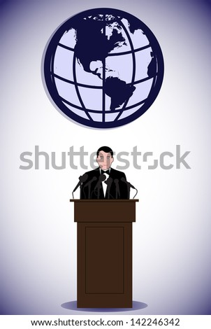 politician in front of a microphone - stock vector